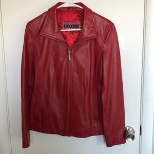 Red leather jacket size small